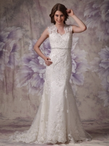 Mermaid Wide Square Court Train Lace Beading Wedding Dress