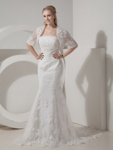 Mermaid Wedding Dress Chapel Train Lace and Taffeta Beading