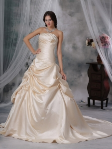 Champagne Ruched Wedding Dress Strapless Court Train Taffeta