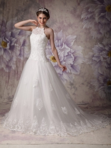 Halter Lace Over Skirt Chapel Train Beading Wedding Dresses