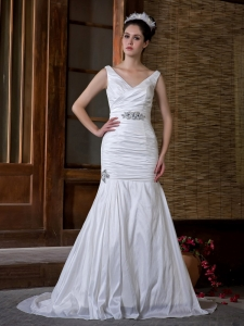 Mermaid V-neck Court Train Taffeta Ruch Beading Wedding Dress