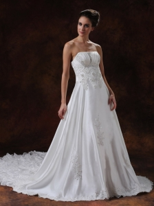 Beading Taffeta Chapel Train Strapless Wedding Dress