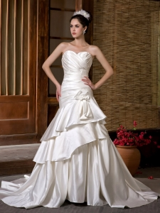 Sweetheart Taffeta Ruch Hand Made Flowers Wedding Dress