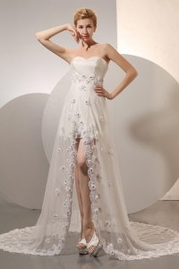 Short Wedding Dress Embroidery Tulle Train Hand Made Flowers