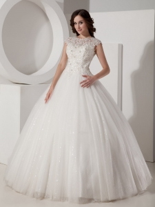 Beautiful High-neck Sequined and Lace Wedding Bridal Gowns