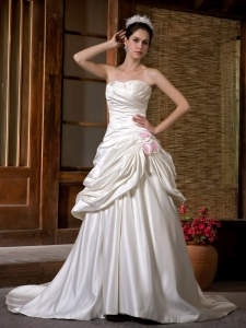 Ruch Hand Made Flowers Wedding Dress Chapel Train Taffeta