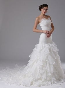 Mermaid Wedding Dress Sweetheart Ruched Bodice Ruffles