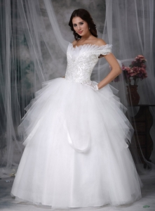 Off The Shoulder Wedding Gowns Floor-length Tulle Appliques