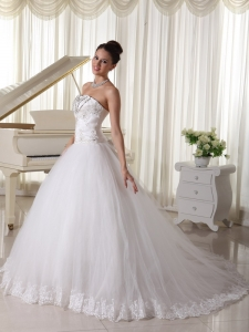 Satin and Tulle Strapless Beaded Wedding Bridal Gown Bowknot
