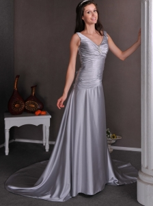 Silver Wedding Dress V-neck Chapel Train Elastic Satin Beading
