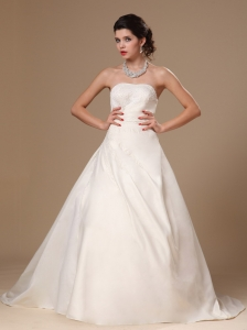 Simple Strapless Beaded Satin Church Wedding Bridal Gowns