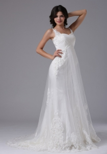 Straps Embroidery Tulle over Skirt Wedding Dress Brush Train