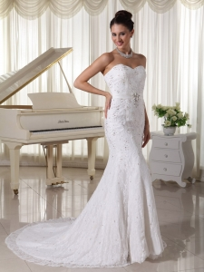 Sweetheart Sheath Wedding Dresses Beading Lace Over Skirt