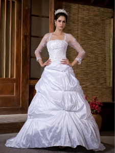 Traditional Strapless Taffeta Appliques Wedding Bridal Dress