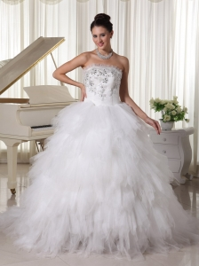 Popular Tulle Ruffles Beaded Wedding Dress Sweep Train