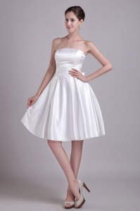 Short Wedding Dress Strapless Taffeta Bowknot Waistband