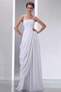 Soft Prom Dress Spaghetti Straps Chiffon Beading and Ruch