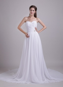 Chiffon Beading Wedding Dress Empire Sweetheart Court Train