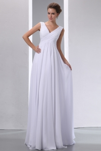 V-neck Prom Dress Straps Chiffon Beading and Ruched Spring