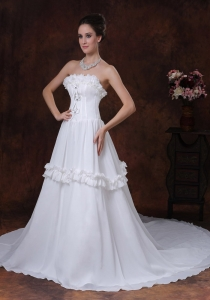A-Line Chiffon Strapless Chapel Train Ruffles Wedding Dress
