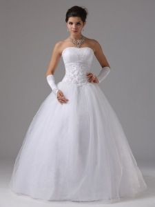 Beaded Lace Decorate Waist Puffy Wedding Bridal Dresses