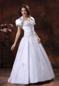 White Sweetheart Embroidery Tulle Wedding Gowns with Jacket