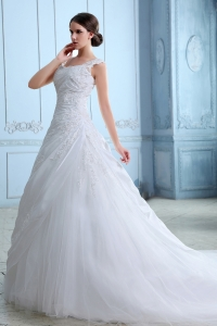 Best Wedding Dress A-line Square Court Train Tulle Appliques