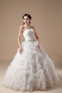 Ball Gown Beading Wedding Dress Big Flower Embellishment