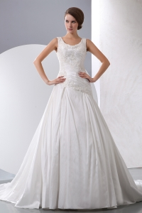 Scoop Chapel Train Wedding Dress Taffeta Appliques Ruched