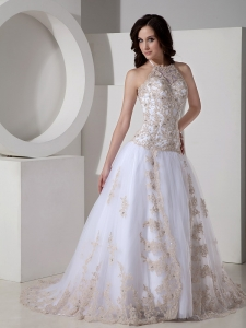 Halter Court Train Tulle Gold Lace Appliques Bridal Dresses