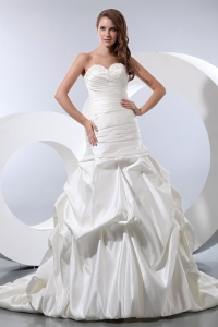 Sweetheart Court Train Taffeta Ruched Pick-ups Bridal Dress