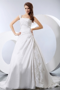 One Shoulder Chapel Train Appliques and Ruch Wedding Dress