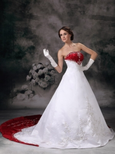 Two-tones Chapel Train Satin Embroidery Wedding Bridal Dress