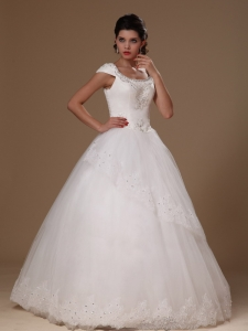 Cheap Scoop Short Sleeves Beaded Appliques Bridal Gowns