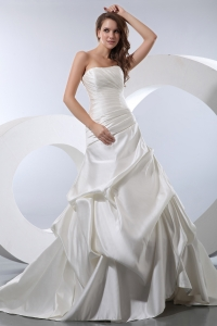 A-line Strapless Chapel Train Ruched Pick-ups Wedding Dress
