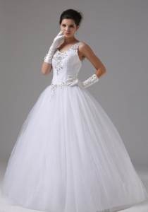 Straps V-neck Beaded Appliques Wedding Bridal Gown in 2013