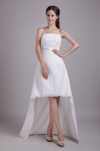 Fashionable High-low Wedding Dress Strapless Satin Beading