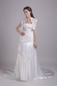 White Strapless Elastic Woven Satin Lace Beaded wedding Dress