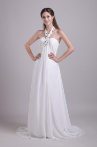 Beaded Halter Brush Train Chiffon White Wedding Dress
