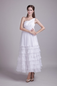 White One Shoulder Ankle-length Layered Ruffles Wedding Dress