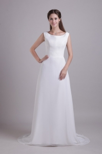 White Wedding Dress Empire Scoop Brush Train Chiffon Beading