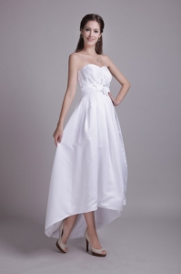 High-Low Wedding Dress Ankle-length Taffeta Hand-made Flower