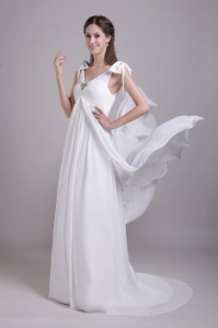 Empire V-neck Brush Train Chiffon Beading Wedding Dress