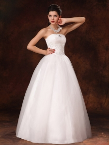 Ball Gown Wedding Dress Strapless Appliques Beading Tulle