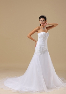 Appliques Organza over Skirt Chapel Train Beaded Wedding Dress