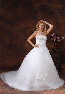 Appliques Beading Ball Gown Wedding Bridal Gown Chapel Train