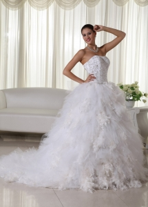 Embroidery Wedding Gown Satin Organza Ruffles Chapel Train