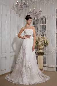 Lace Appliques Over Skirt Wedding Dress Strapless Waistband