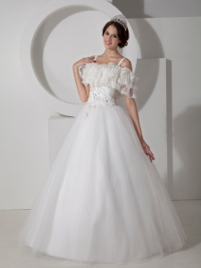 Unique Straps Tulle Appliques Beaded Wedding Bridal Dress