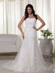 Tulle Appliques Wedding Gown A-line Court Train Sweetheart